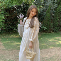Dress Summer 2021 One piece of suspender skirt, one piece of shirt Average size Mid length dress singleton  Sleeveless commute V-neck High waist Solid color Socket A-line skirt routine camisole 18-24 years old Type A Korean version 30% and below other other