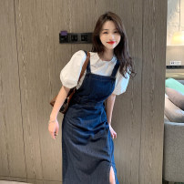 Dress Spring 2021 One piece of jacket and one piece of skirt S,M,L Mid length dress Two piece set Sleeveless commute High waist Solid color other A-line skirt straps 18-24 years old Type A Korean version