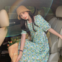 Dress Summer 2021 green Average size Mid length dress singleton  Short sleeve commute square neck High waist Broken flowers other A-line skirt puff sleeve Others 18-24 years old Type A Korean version Frenulum