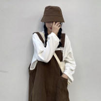 Dress Spring 2021 Tibetan blue strap, coffee strap, rose powder and white sweater Average size longuette Two piece set Sleeveless commute other Loose waist Solid color Socket other other straps 18-24 years old Type H Korean version