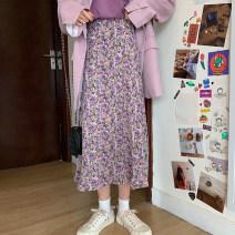 skirt Spring 2021 S, M Pink floret No.1, yellow floret No.2, purple floret No.3, yellow floret No.4, pink floret No.5, yellow floret No.6, red floret No.7 Mid length dress commute High waist A-line skirt Decor Type A 18-24 years old Korean version