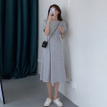 Dress Summer 2020 Gray, black Average size longuette singleton  Short sleeve commute Crew neck Loose waist Solid color Socket Irregular skirt routine Others 18-24 years old Type A Korean version fold 30% and below other other