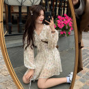 Dress Spring 2021 One piece dress, one piece waist cover Average size Mid length dress singleton  Long sleeves commute V-neck High waist Broken flowers Socket A-line skirt routine Others 18-24 years old Type A Korean version