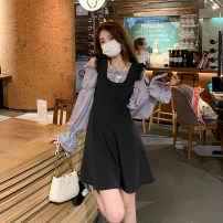 Dress Summer 2021 Black strap skirt, grey blue shirt and pink shirt Average size Short skirt singleton  Sleeveless commute square neck High waist Solid color Socket A-line skirt other straps 18-24 years old Type A Korean version Lace 3777# 30% and below other other