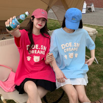 T-shirt Plum powder, milk blue Average size Summer 2021 Short sleeve Crew neck easy Regular routine commute other 30% and below 18-24 years old Korean version youth Cartoon, animation, letters