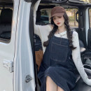 Dress Summer 2021 Light blue, blue gray Average size longuette singleton  Sleeveless commute square neck Loose waist Solid color Socket other routine straps 18-24 years old Type H Korean version pocket 30% and below other other