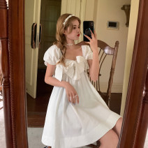 Dress Summer 2021 Suspender skirt piece, short sleeve dress piece Average size Short skirt singleton  Short sleeve commute square neck Loose waist Solid color Socket Big swing puff sleeve Others 18-24 years old Type A Korean version bow 30% and below other other