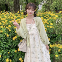 Dress Summer 2021 Dress piece, cardigan piece Average size longuette singleton  Sleeveless commute other High waist Broken flowers Socket A-line skirt other camisole 18-24 years old Type A Korean version 30% and below other other