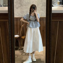 skirt Summer 2021 Average size Blue plaid shirt, Black Plaid shirt and skirt longuette commute High waist A-line skirt Solid color Type A 18-24 years old 30% and below other other Korean version