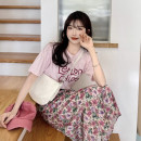 Fashion suit Summer 2021 Average size Pink T-shirt, floral skirt 18-25 years old
