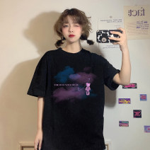 T-shirt White cloud pin bear T-shirt, black cloud pin bear T-shirt Average size Summer 2021 Short sleeve Crew neck easy Regular routine commute other 30% and below 18-24 years old Korean version