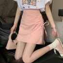 skirt Summer 2021 S,M,L White, pink, black Short skirt commute High waist A-line skirt Solid color Type A 18-24 years old 30% and below other other Frenulum Korean version