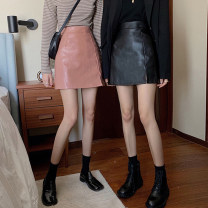 skirt Spring 2021 S,M,L,XL Pink, yellow, black Short skirt commute High waist A-line skirt Solid color Type A 18-24 years old More than 95% Viscose Split Korean version