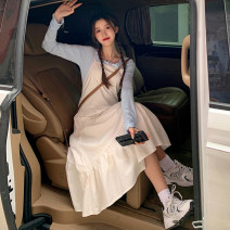 Dress Spring 2021 White dress single piece, black dress single piece, base coat white single piece, base coat blue single piece Average size Mid length dress singleton  Sleeveless commute High waist Solid color A-line skirt Others 18-24 years old Type A Korean version