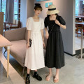 Dress Summer 2021 White, black Average size Mid length dress singleton  Short sleeve commute square neck High waist Solid color A-line skirt puff sleeve Others 18-24 years old Type A Korean version