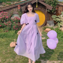 Dress Summer 2021 Apricot, purple S,M,L longuette singleton  Short sleeve commute square neck High waist Solid color zipper Big swing puff sleeve Others 18-24 years old Type A Korean version Asymmetry 30% and below other other