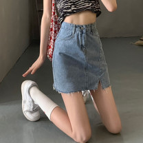 skirt Summer 2021 S,M,L blue Short skirt commute High waist A-line skirt Solid color Type A 18-24 years old 30% and below other other Pocket, button, zipper Korean version