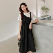 Dress Summer 2021 Khaki, black S,M,L longuette Fake two pieces Short sleeve commute Crew neck High waist other Socket A-line skirt routine Others 18-24 years old Type A Korean version Splicing 30% and below other other