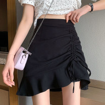 skirt Summer 2021 S,M,L White, black Short skirt commute High waist A-line skirt Solid color Type A 18-24 years old Fold, lace up Korean version