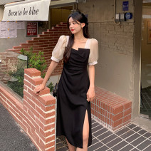 Dress Spring 2021 Long, short Average size Mid length dress singleton  Short sleeve commute other High waist other A-line skirt puff sleeve Others 18-24 years old Type A Korean version