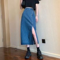 skirt Spring 2021 S,M,L,XL Dark blue, light blue Mid length dress commute High waist Denim skirt Solid color Type A 18-24 years old 51% (inclusive) - 70% (inclusive) cotton Korean version