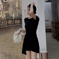 Dress Summer 2021 black S,M,L Short skirt singleton  Short sleeve commute Crew neck High waist Solid color Socket One pace skirt routine Others 18-24 years old Type H Korean version 9062# 30% and below other other