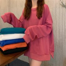 Sweater / sweater Autumn 2020 Blue, raspberry powder, lake green, white orange, lean black, milk white Average size Long sleeves Medium length Socket singleton  Crew neck easy commute 18-24 years old 30% and below Korean version other lym2084
