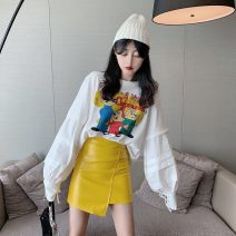 Fashion suit Autumn 2020 S. M, average size Letter top 9849, yellow leather skirt 9850 18-25 years old lym1855 31% (inclusive) - 50% (inclusive)