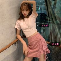 Fashion suit Summer 2020 S. M, one size fits all (160 / 84A) Pink T, plaid skirt 18-25 years old D3281
