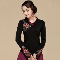 T-shirt Black thickened Plush black M L XL 2XL 3XL 4XL 5XL Fall 2017 Long sleeves V-neck Self cultivation Regular routine commute cotton 86% (inclusive) -95% (inclusive) 30-39 years old ethnic style classic Mosaic of plants and flowers Stitching embroidery