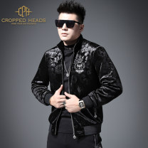Jacket CROPPED HEADS Youth fashion Black with cotton M L XL 3XL XXL 4XL thick Self cultivation Other leisure winter W203013 Polyester 91.2% polyurethane elastic fiber (spandex) 8.8% Long sleeves Wear out Baseball collar tide youth routine Zipper placket Rib hem No iron treatment Closing sleeve other