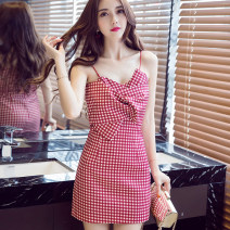 Dress Summer 2020 Red, black S,M,L Short skirt singleton  Sleeveless commute V-neck middle-waisted lattice Socket A-line skirt routine camisole 25-29 years old Type A Other / other Korean version backless 81% (inclusive) - 90% (inclusive) brocade other