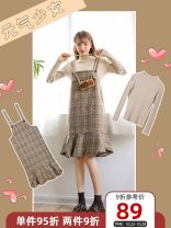 Dress Winter 2020 Cassettes [without jacket], cassettes [two piece set] S,M,L,XL longuette singleton  Long sleeves commute Crew neck High waist lattice Socket Ruffle Skirt pagoda sleeve straps 18-24 years old Capital of flowers Korean version Lotus leaf edge 71% (inclusive) - 80% (inclusive)