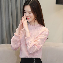 Lace / Chiffon Spring 2020 White, apricot pink, white plush, apricot Plush S,M,L,XL,2XL Long sleeves commute Socket singleton  Straight cylinder Regular Crew neck Solid color bishop sleeve Embroidery, fungus, splicing, thread, mesh, lace lady
