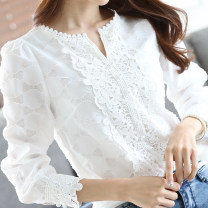 Lace / Chiffon Autumn of 2019 white S,M,L,XL,2XL Long sleeves commute Socket singleton  easy Regular V-neck other puff sleeve Hollowing, pleating, Gouhua, hollowing, lace Korean version