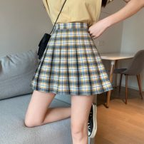 skirt Summer 2021 XS,S,M,L Yellow grid, black grid Short skirt commute High waist Pleated skirt lattice Type A 18-24 years old 71% (inclusive) - 80% (inclusive) other polyester fiber zipper Korean version