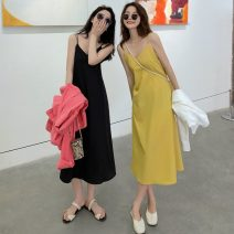 Dress Summer 2021 Yellow, black Mid length dress singleton  Sleeveless commute V-neck Loose waist Solid color Socket other other camisole 18-24 years old Type A Korean version 71% (inclusive) - 80% (inclusive) other polyester fiber