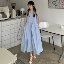 Dress Summer 2021 Mid length dress singleton  Sleeveless commute square neck High waist Solid color Irregular skirt camisole 18-24 years old Type A Korean version 1 71% (inclusive) - 80% (inclusive) other polyester fiber Average size Blue, pink
