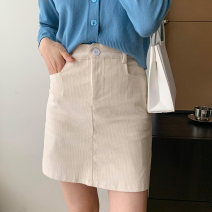 skirt Spring 2021 S,M,L Black, apricot Short skirt commute High waist A-line skirt Solid color Type A 18-24 years old 71% (inclusive) - 80% (inclusive) corduroy Other / other polyester fiber Button Korean version