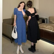 Dress Summer 2021 Blue, black Average size longuette singleton  Short sleeve commute square neck High waist Solid color Socket A-line skirt puff sleeve Others 18-24 years old Type A Other / other Korean version Asymmetry 91% (inclusive) - 95% (inclusive) other polyester fiber