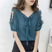 Lace / Chiffon Summer 2021 Dark green (front and back), red (front and back), white (front and back) S,M,L,XL,2XL,3XL,4XL Short sleeve commute Socket easy Regular Crew neck Solid color routine 18-24 years old Other / other Korean version 51% (inclusive) - 70% (inclusive) cotton