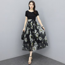 Dress Summer 2021 Picture color M,L,XL,2XL,3XL longuette singleton  Short sleeve commute Crew neck middle-waisted Decor zipper A-line skirt routine 35-39 years old Type A printing 31% (inclusive) - 50% (inclusive) Chiffon polyester fiber