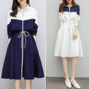 Dress Winter 2020 White, blue M,L,XL,2XL,3XL Mid length dress singleton  Long sleeves commute High collar High waist Solid color zipper A-line skirt routine Others 35-39 years old Type A Korean version