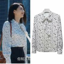 shirt white S / 2, M / 3, L / 4, XL / 5 Spring 2021 other 96% and above Long sleeves commute Regular Scarf Collar Single row multi button routine Solid color 18-24 years old Self cultivation Pinge Dixin lady bow Chiffon