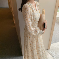 Dress Spring 2021 Cream yellow flower S,M,L longuette singleton  Long sleeves commute V-neck middle-waisted Broken flowers Socket Big swing shirt sleeve Type X Korean version Print, lace up, stitching Chiffon
