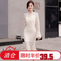 Dress Spring 2021 Apricot S,M,L,XL longuette singleton  Long sleeves commute V-neck middle-waisted Solid color zipper Ruffle Skirt routine Others 25-29 years old Type H Korean version Lace 51% (inclusive) - 70% (inclusive) Lace polyester fiber
