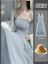 Dress Spring 2021 S,M,L,XL,2XL longuette Two piece set Sleeveless commute High waist Solid color Socket A-line skirt routine camisole 18-24 years old Type A Other / other Korean version Open back, fold, splice, strap 51% (inclusive) - 70% (inclusive) Chiffon