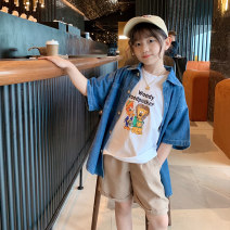 shirt blue Other / other female 100cm,110cm,120cm,130cm,140cm,150cm spring and autumn Short sleeve Korean version Solid color other Lapel and pointed collar C21053 Class B