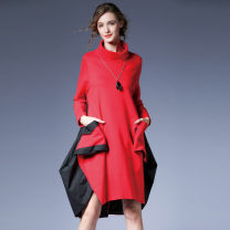 Dress Spring 2021 Black, red S,M,L Mid length dress singleton  Long sleeves commute High collar Loose waist Solid color Socket Irregular skirt routine Others 35-39 years old Type A Within reach literature Fold, pocket, stitching, wave, swallow tail L-6108 51% (inclusive) - 70% (inclusive) knitting
