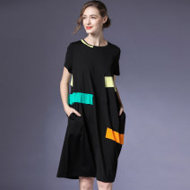 Dress Summer 2021 black S,M,L Mid length dress singleton  Short sleeve street Crew neck Loose waist Solid color Socket A-line skirt routine Others 35-39 years old Type A Within reach 51% (inclusive) - 70% (inclusive) knitting other Europe and America